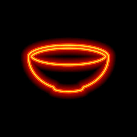 Empty bowl icon. Sign of kitchen. Orange neon style on black background. Light icon