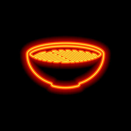 Bowl of noodles without chopsticks. Icon of asian or italian food. Orange neon style on black background. Light icon