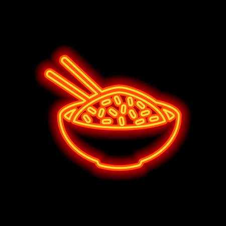 Bowl of rice with chopsticks. Icon of asian food. Orange neon style on black background. Light icon