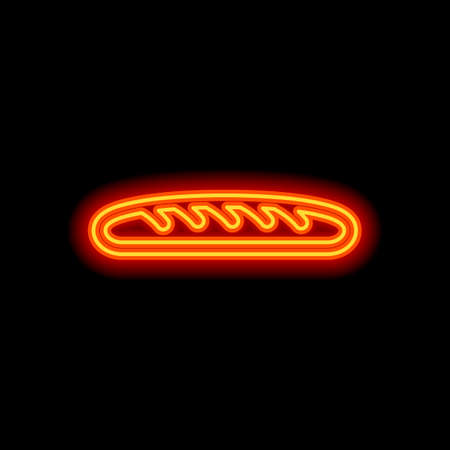 Outline bread icon. Bakery symbol. Orange neon style on black background. Light icon
