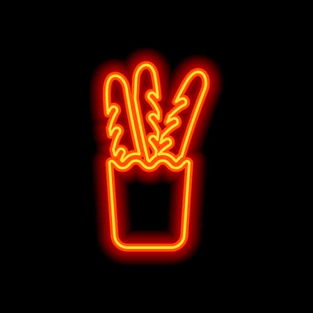 French bread in the paper bag. Food delivery logo. Orange neon style on black background. Light icon