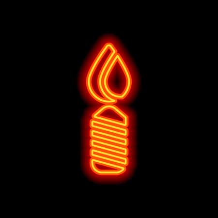 Burning candle icon. Sign of christmas or birthday. Orange neon style on black background. Light icon Illustration