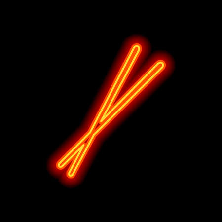 Couple chopsticks. Asian kitchen tools. Orange neon style on black background. Light icon