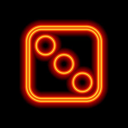 One dice with number three on visible side. Icon of casino games. Orange neon style on black background. Light icon
