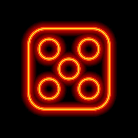 One dice with number five on visible side. Icon of casino games. Orange neon style on black background. Light icon