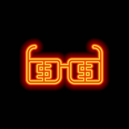 Money glasses with dollas sign. Finance icon. Orange neon style on black background. Light icon