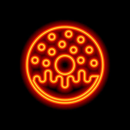 Donut, icon of food, top view. Orange neon style on black background. Light icon