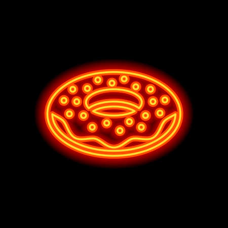 Donut, icon of food, side view. Orange neon style on black background. Light icon Stockfoto - 148447221
