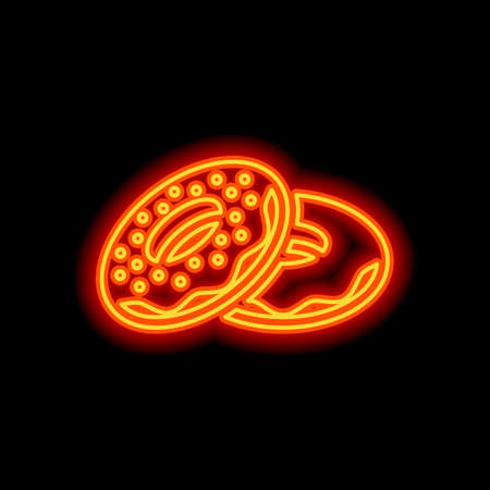 Couple donuts, side view. Icon of food. Orange neon style on black background. Light icon
