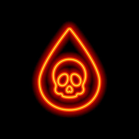 Drop of poison or acid with skull symbol. Icon of danger. Orange neon style on black background. Light icon