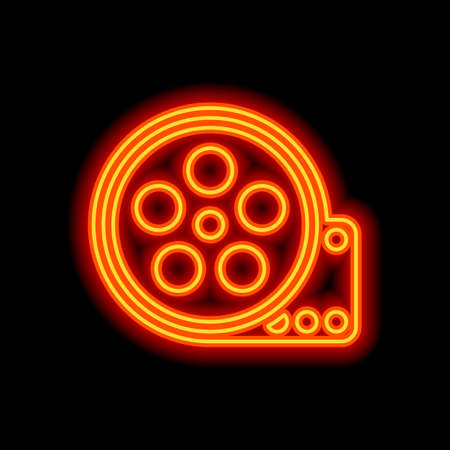 Film roll, old movie strip icon, cinema logo. Orange neon style on black background. Light icon