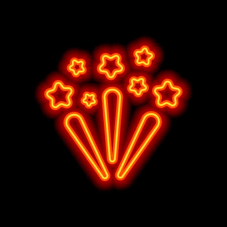 Fireworks with stars. Celebration icon. Orange neon style on black background. Light icon