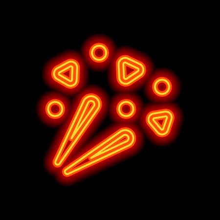 Fireworks with simple elements. Celebration icon. Orange neon style on black background. Light icon