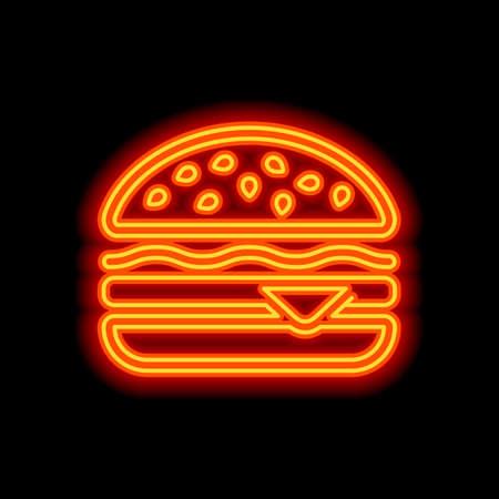 Hamburger icon. Fast food. Linear outline symbol. Orange neon style on black background. Light icon