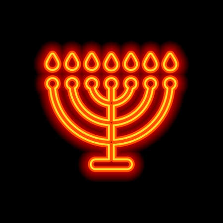 Hanukkah icon or menorah lamp. Outline Jewish Candles. Orange neon style on black background. Light icon 向量圖像