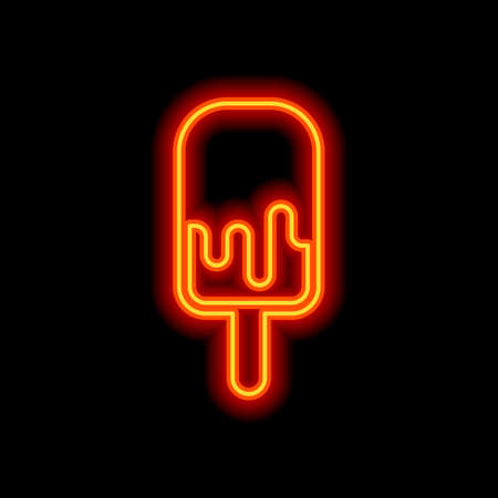 Ice lolly, eskimo on stick with chocolate, ice-cream. Simple icon. Orange neon style on black background. Light icon