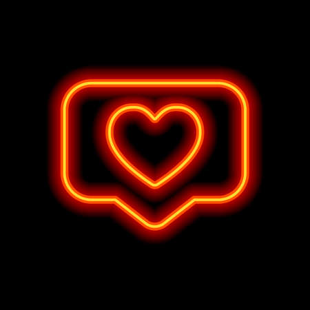 Like icon, heart in notification cloud, social symbol. Orange neon style on black background. Light icon