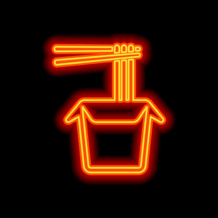 Noodle in box, asian food takeaway, wok icon. Orange neon style on black background. Light icon