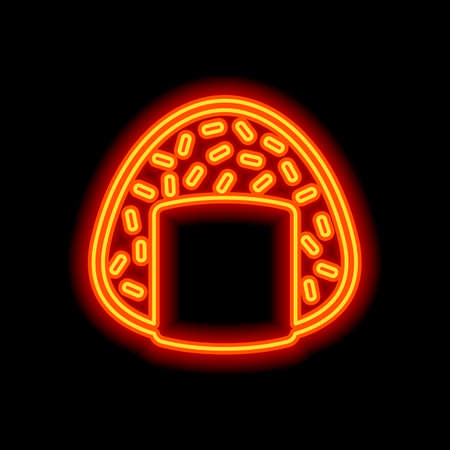 Onigiri icon, japanese food. Orange neon style on black background. Light icon  イラスト・ベクター素材