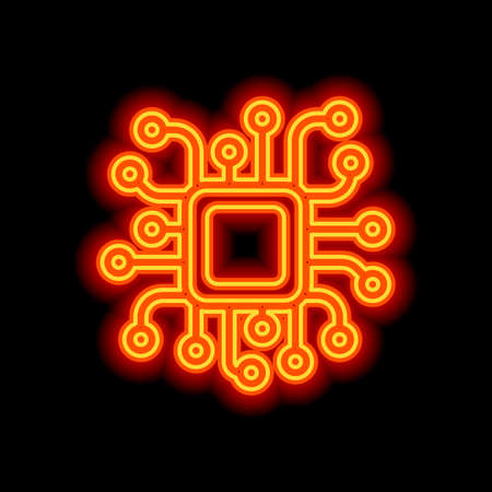 Processor chip, computer microchip, cpu chipset. Technology icon. Orange neon style on black background. Light icon