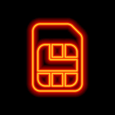 Electronic sim card, plastic mobile chip for cellphone. Simple icon. Orange neon style on black background. Light icon