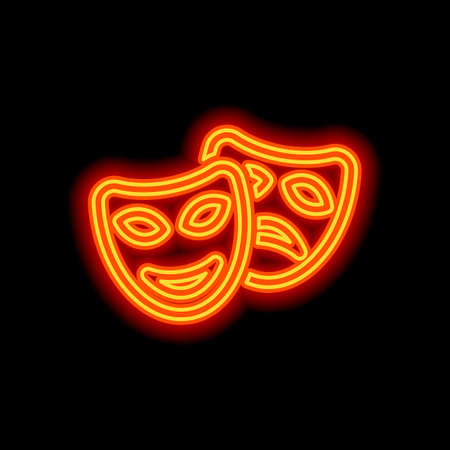 Smile and sad masks, comedy and drama theater, opposite emotions. Linear outline icon. Orange neon style on black background. Light icon