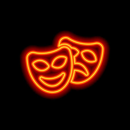 Smile and sad masks, comedy and drama theater, opposite emotions. Icon with happy and depressed faces. Orange neon style on black background. Light icon Vettoriali