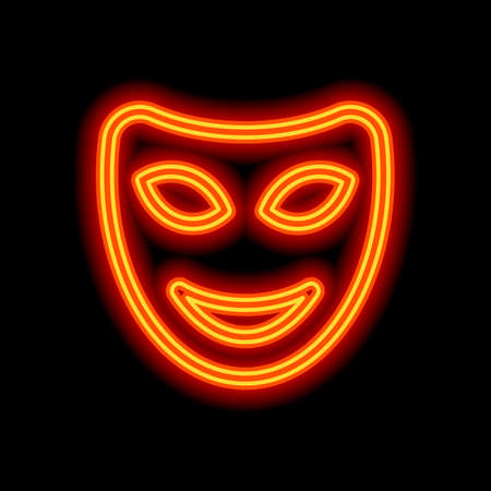 Smile mask of theatre, face with happy emotion, sign of comedy. Linear outline icon. Orange neon style on black background. Light icon