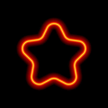 Simple star icon, sign of rating or rank. Orange neon style on black background. Light icon