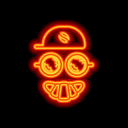 Coffee character, croissant smile, cap with grain, espresso logo, creative comic icon. Orange neon style on black background. Light icon Vettoriali