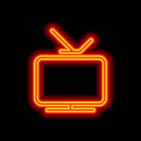 Smart TV, analog television. Linear outline icon of media. Orange neon style on black background. Light icon