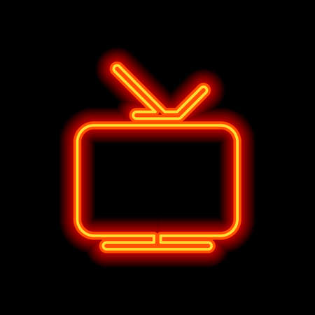 Smart TV, analog television. Icon of media. Orange neon style on black background. Light icon