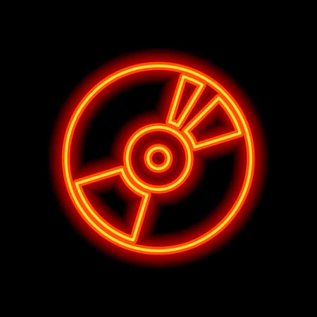 Vintage vinyl, audio disc, dj player. Simple icon, music logo. Orange neon style on black background. Light icon Stockfoto - 148447444