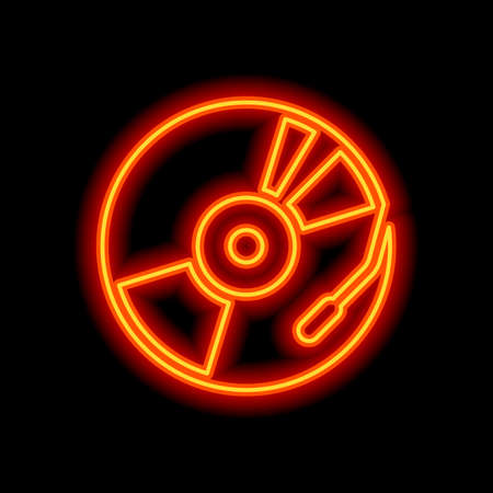 Vintage vinyl, audio disc, dj player. Simple icon, music logo. Orange neon style on black background. Light icon