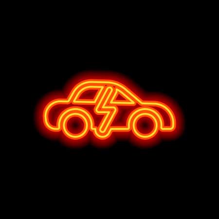 Eco logo of electric car with lightning mark, technology icon. Orange neon style on black background. Light icon Çizim