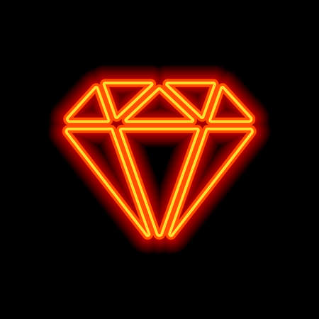 Diamond or brilliant, icon of wealth. Orange neon style on black background. Light icon