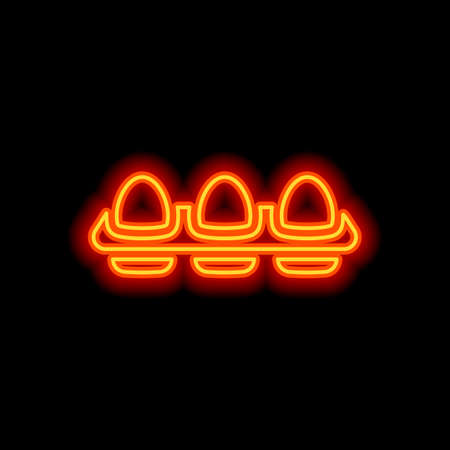 egg tray, simple icon. Orange neon style on black background. Light icon Vettoriali