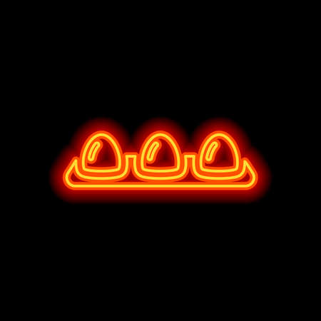 egg tray, linear outline icon. Orange neon style on black background. Light icon