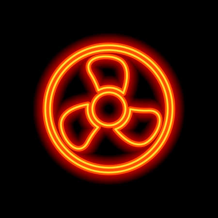Simple fan or cooler, icon in circle. Orange neon style on black background. Light icon Vettoriali