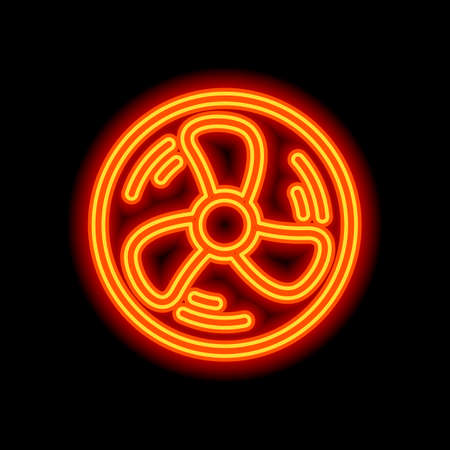 Simple fan or cooler, outline linear icon in circle. Orange neon style on black background. Light icon Vettoriali