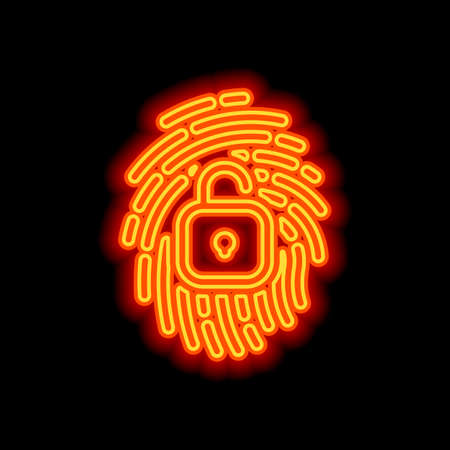 Fingerprint with open lock, personal protect, secutiry icon. Orange neon style on black background. Light icon Stockfoto - 148447569