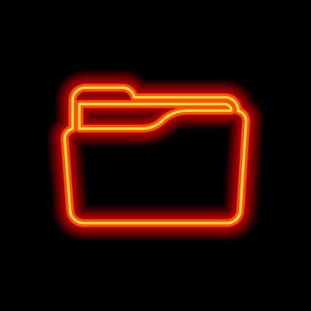 Folder of documents, portfolio with files, business icon. Orange neon style on black background. Light icon Vettoriali