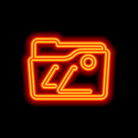Folder of pictures or photos, gallery, outline linear icon. Orange neon style on black background. Light icon