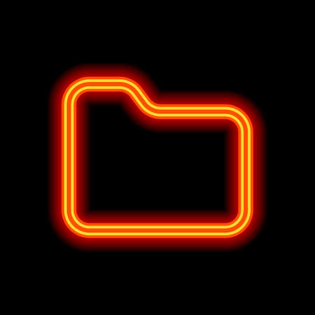 Folder of documents, portfolio with files, linear outline business icon. Orange neon style on black background. Light icon