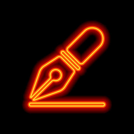 ink pen, simple icon. Orange neon style on black background. Light icon