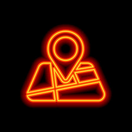 Map with pin, geo locate, pointer icon. Orange neon style on black background. Light icon