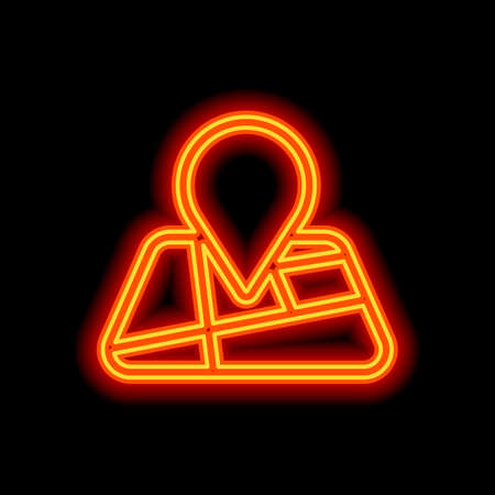 Map with pin, geo locate, outline linear icon. Orange neon style on black background. Light icon