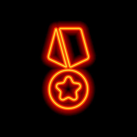 Award with star, medal and ribbon, icon of sport. Orange neon style on black background. Light icon