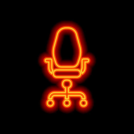 Office chair, business icon. Orange neon style on black background. Light icon
