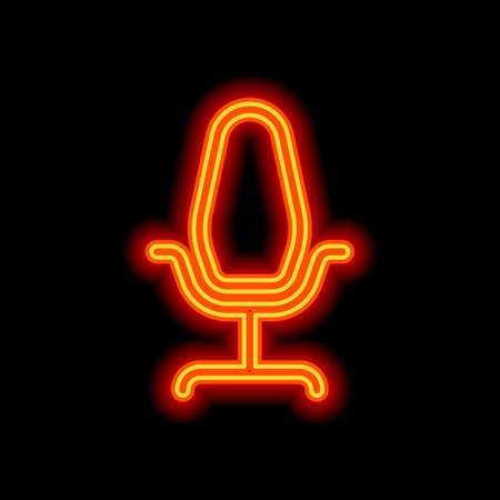 Office chair, linear outline business icon. Orange neon style on black background. Light icon Vettoriali